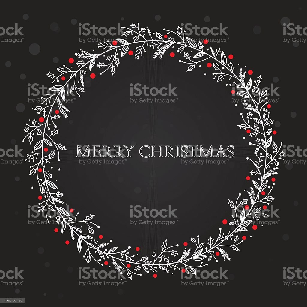 Black xmas wreath vector art illustration