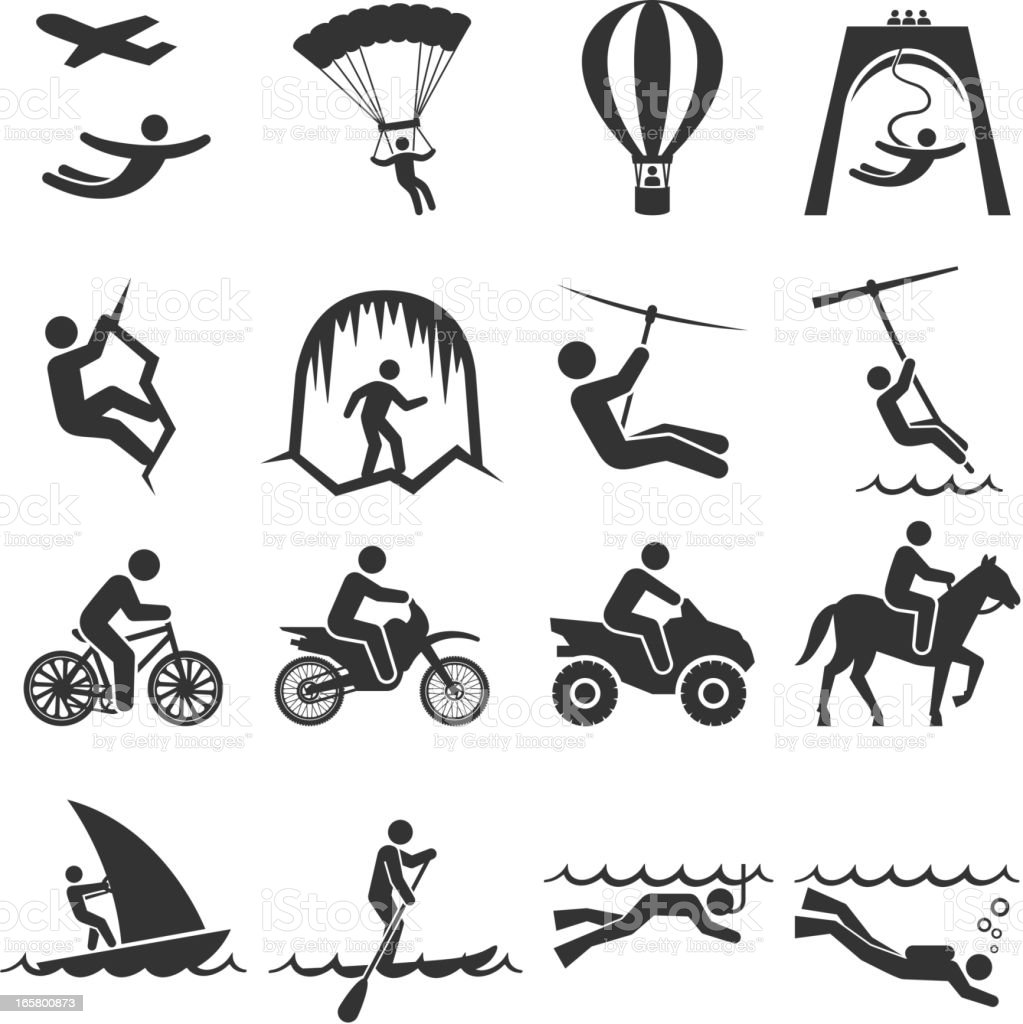Black-and-white adventure travel icon set vector art illustration