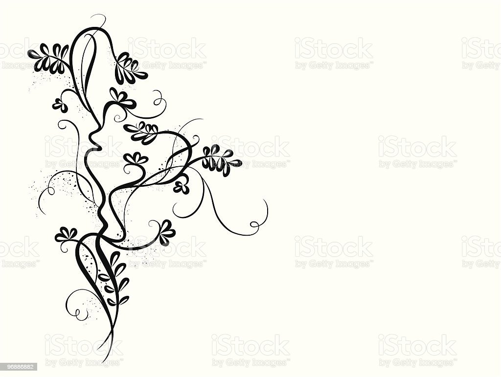 black-and-white floral background royalty-free stock vector art