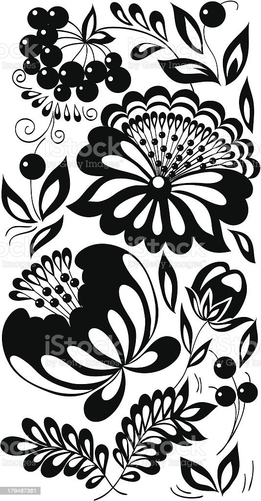 black-and-white flowers, leaves, berries. royalty-free stock vector art