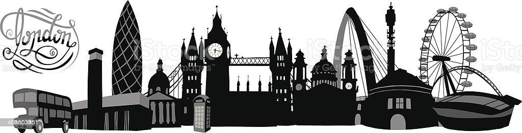 Black-and-white illustrated London skyline vector art illustration