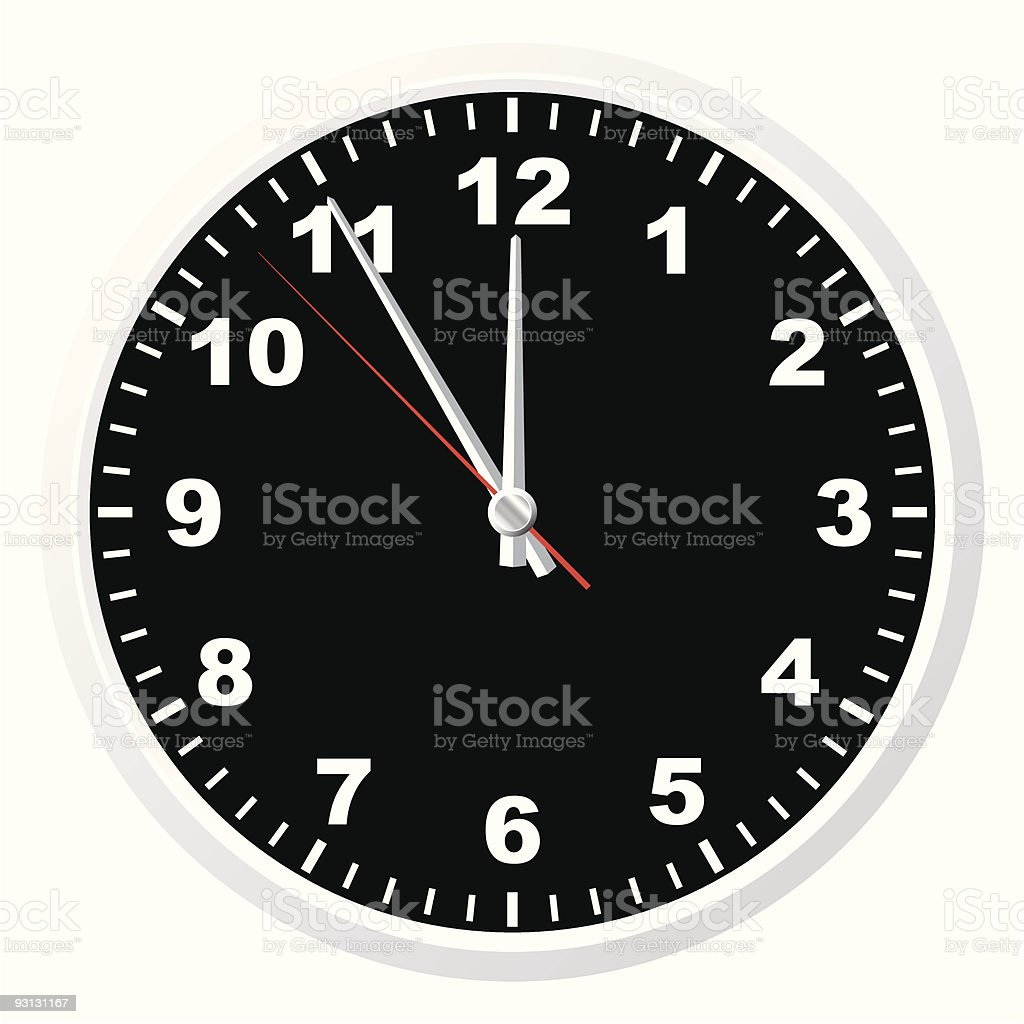 A black-and-white regular and standard office clock  vector art illustration