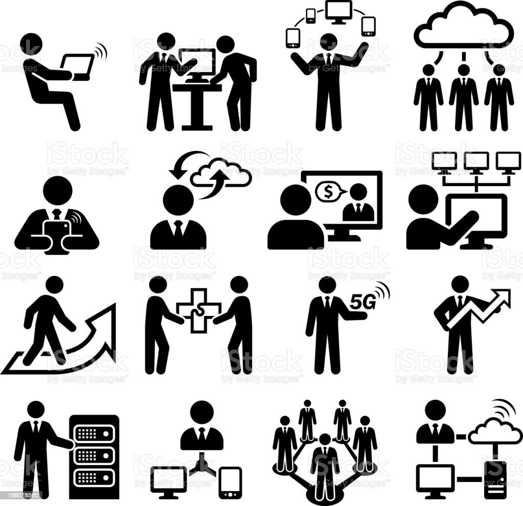 Global Business Team Cloud Computing black and white set vector art illustration