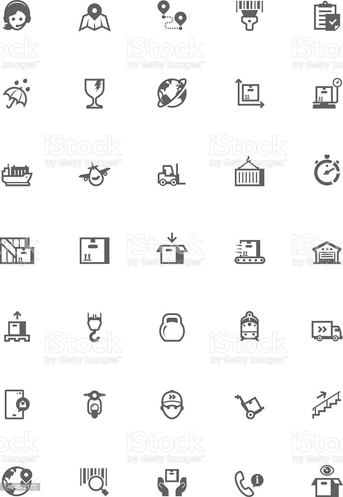 Black-and-white vector logistic icon set vector art illustration