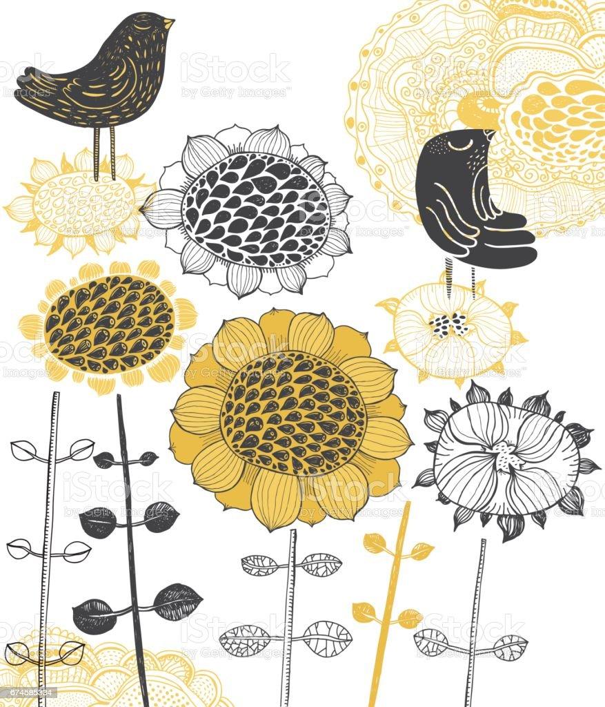 Blackbirds and sunflowers vector art illustration