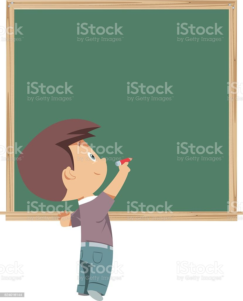 blackboard and child vector art illustration