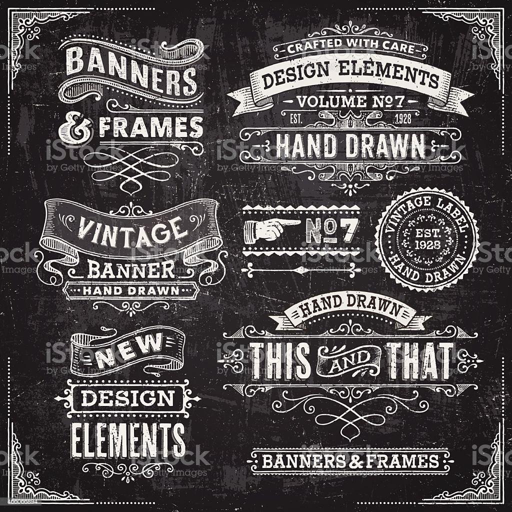 Blackboard Banners,Badges and Frames vector art illustration