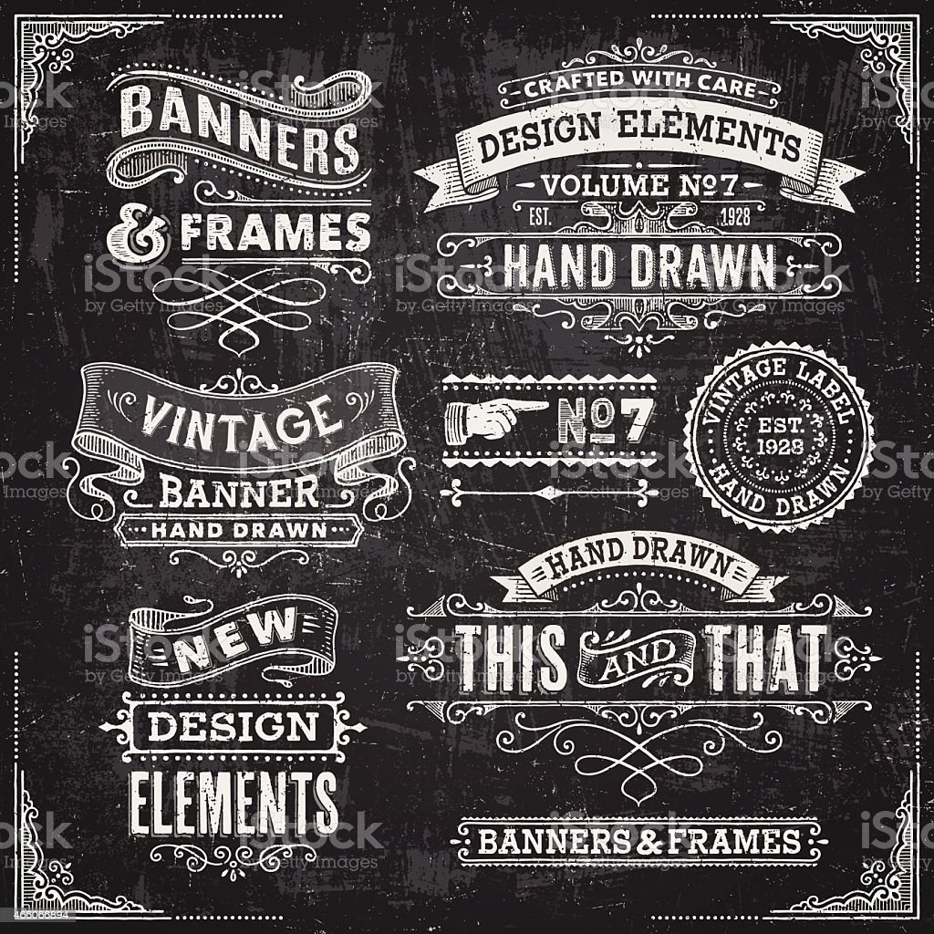 Blackboard Banners,Badges and Frames vector art illustration