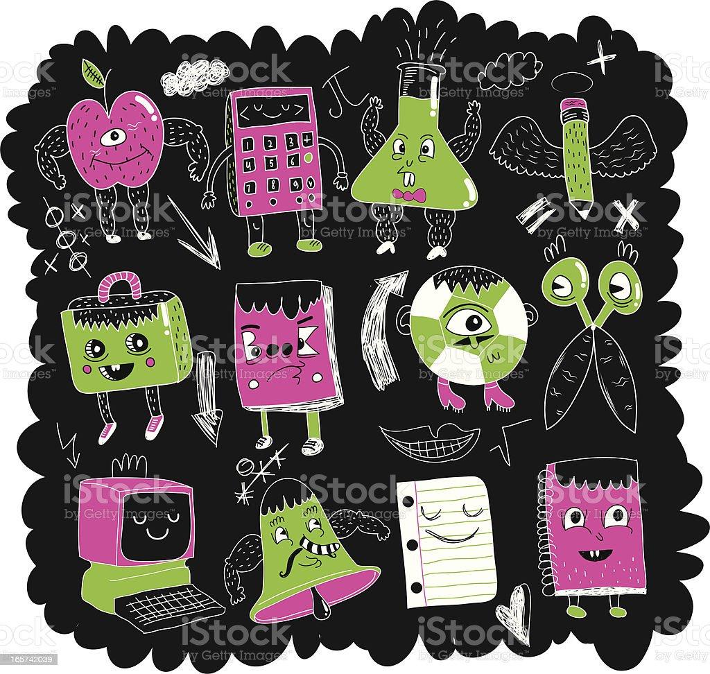 blackboard doodles vector art illustration