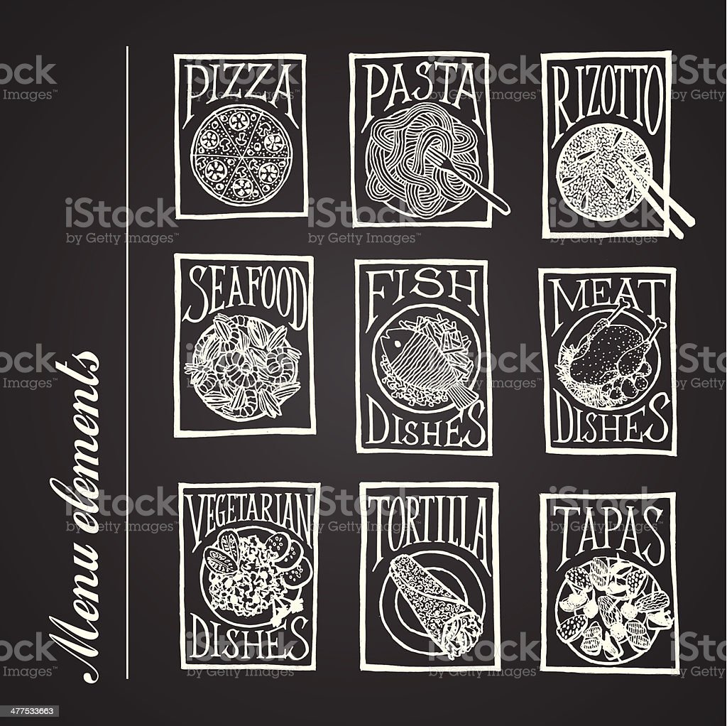 blackboard menu icons - DISHES royalty-free stock vector art