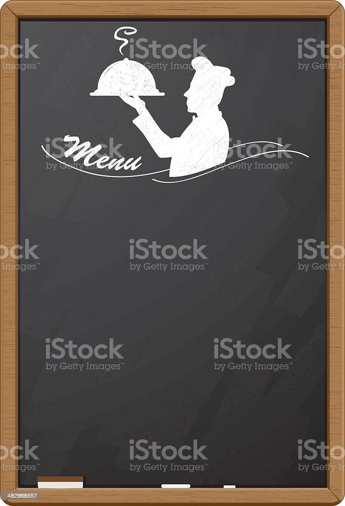 Blackboard menu with cook silhouette vector art illustration