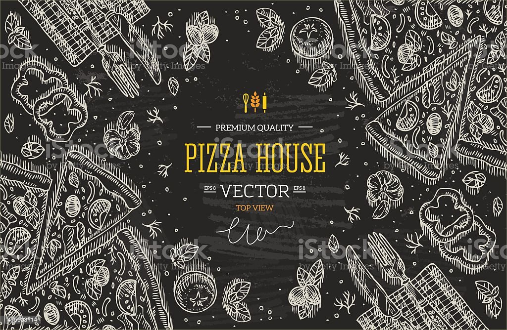 Blackboard pizza top view frame.Design template. Vector illustration vector art illustration