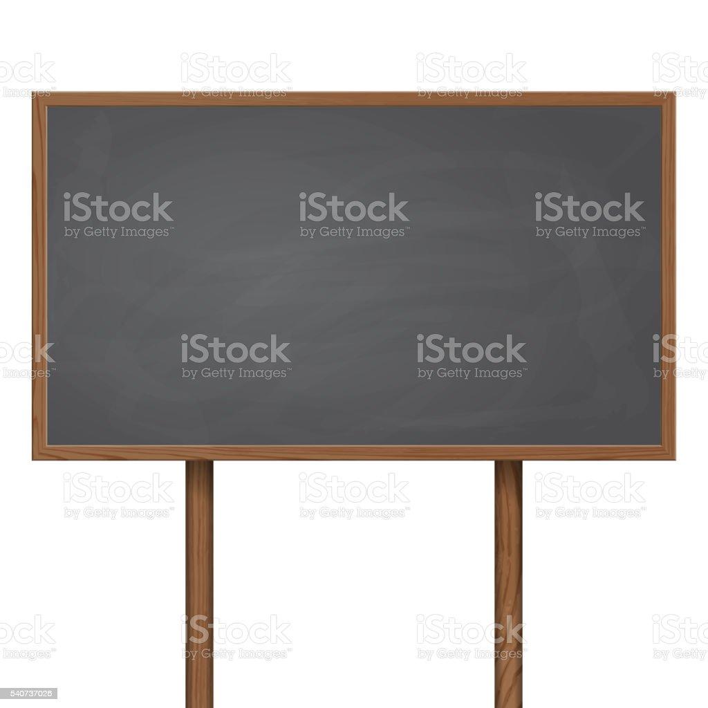 Blackboard standing on wooden post vector art illustration