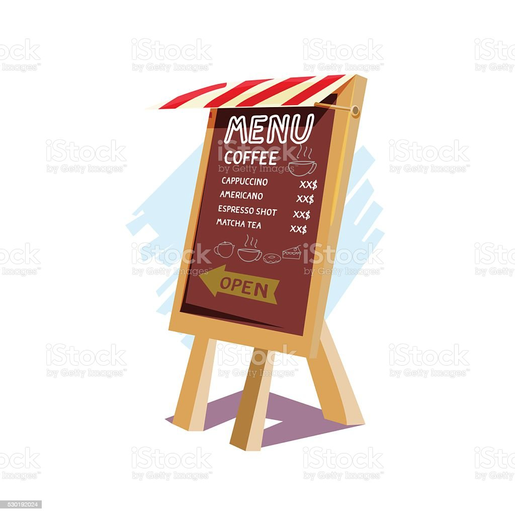 blackboard standy sign with shop roof. coffee and bakery style vector art illustration