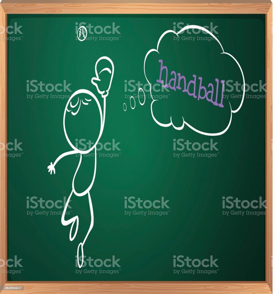 blackboard with a drawing of boy playing handball royalty-free stock vector art