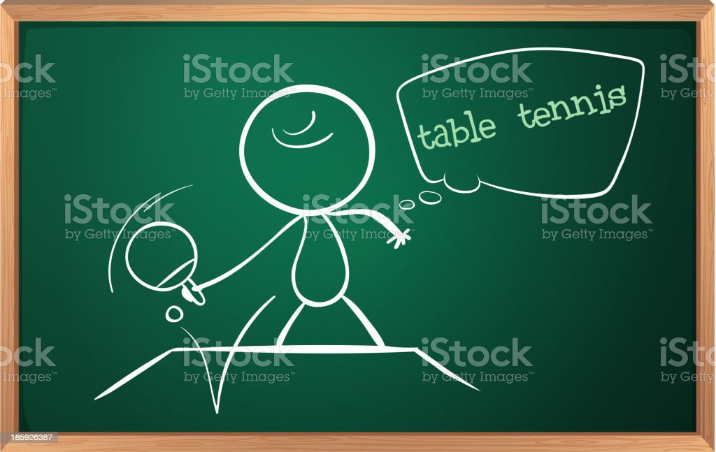 blackboard with drawing of a boy playing table tennis royalty-free stock vector art