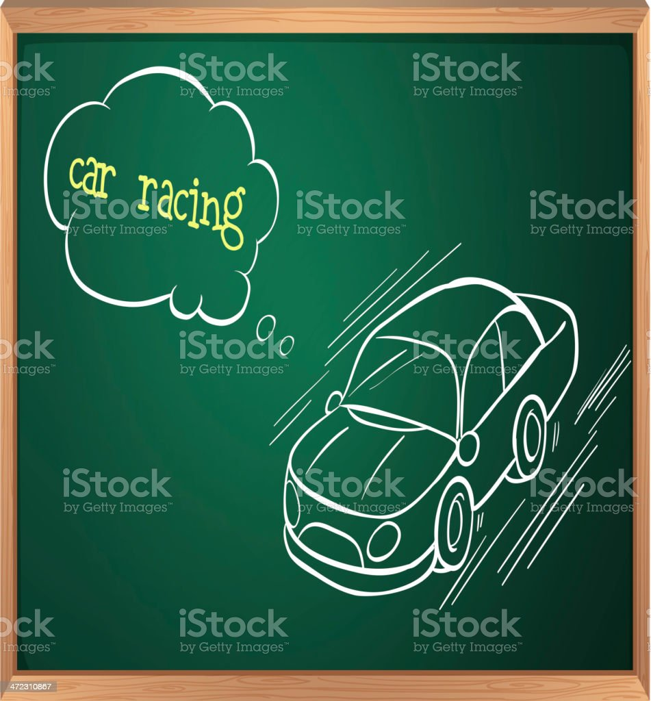 Blackboard with drawing of a car racing royalty-free stock vector art