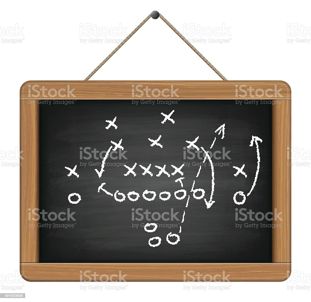 blackboard with football tactic vector art illustration