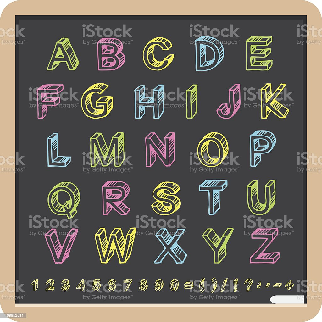 Blackboard With Hand Written Tridimensional Font royalty-free stock vector art