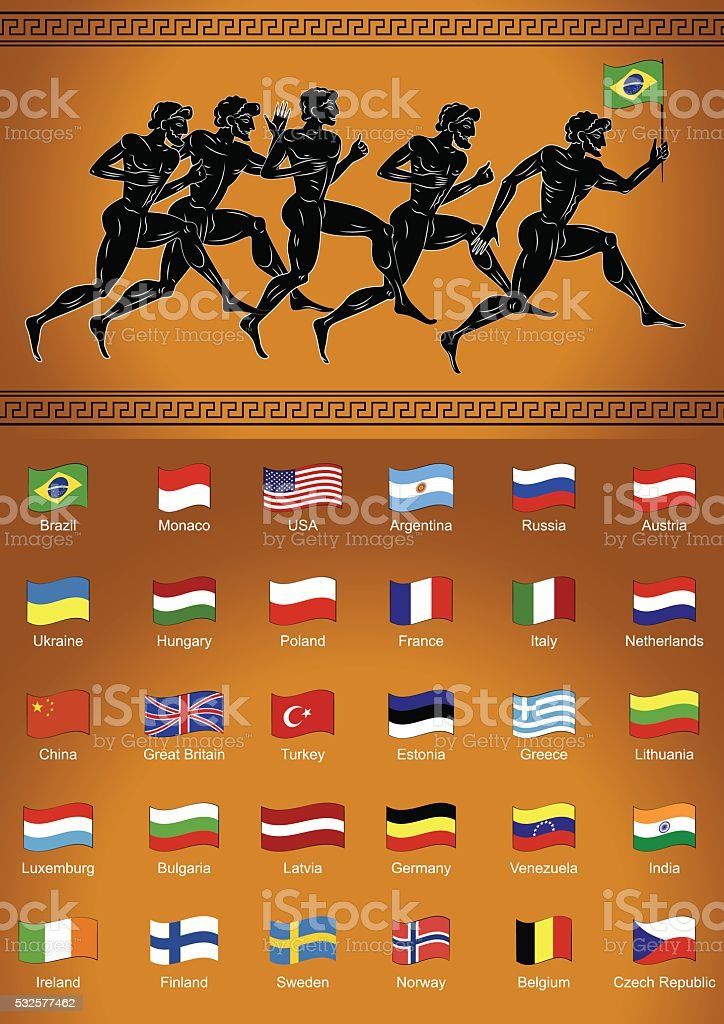 Black-figured runners with the flag. Set of flags. vector art illustration