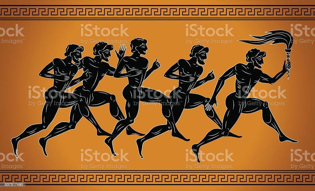 Black-figured runners with the torch. vector art illustration