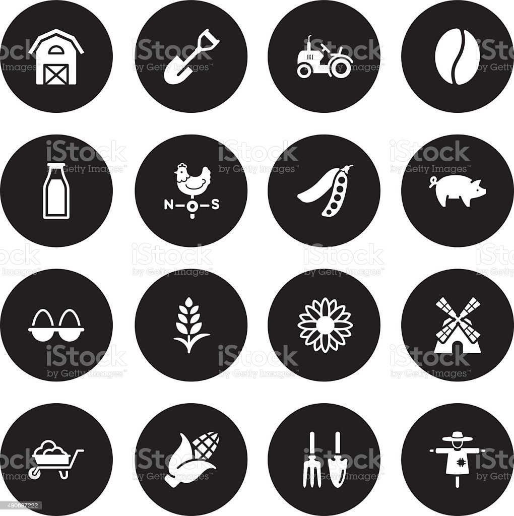 Blackl Vector Agriculture  - 16 Icons vector art illustration