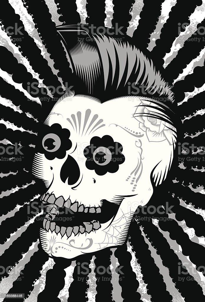 Black/Silver Sugar Skull vector art illustration