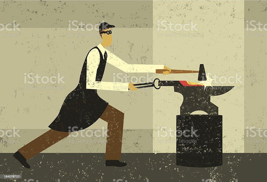 Blacksmith at work royalty-free stock vector art