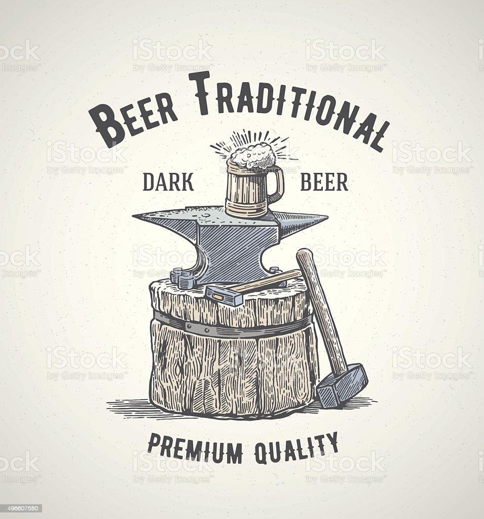 Blacksmiths and beer. vector art illustration