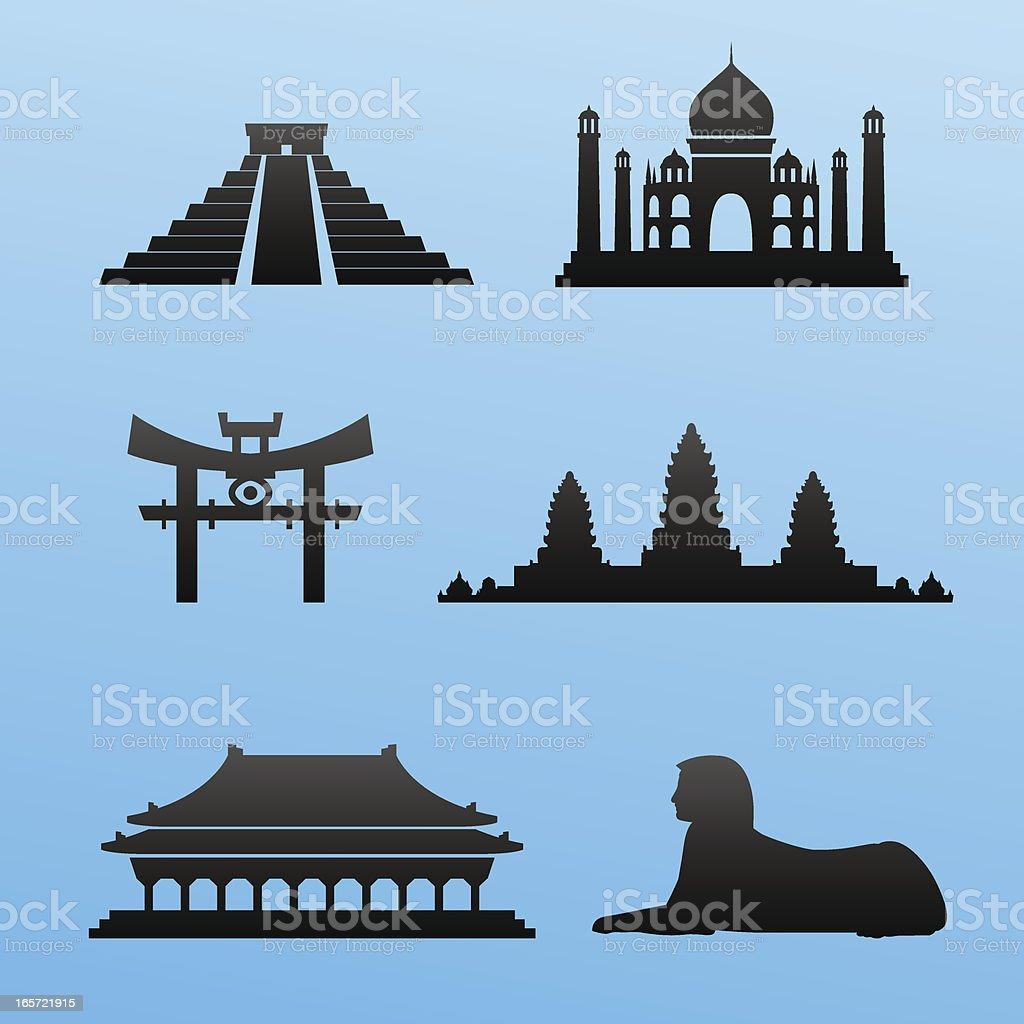 Blackstyle Exotic Landmarks royalty-free stock vector art