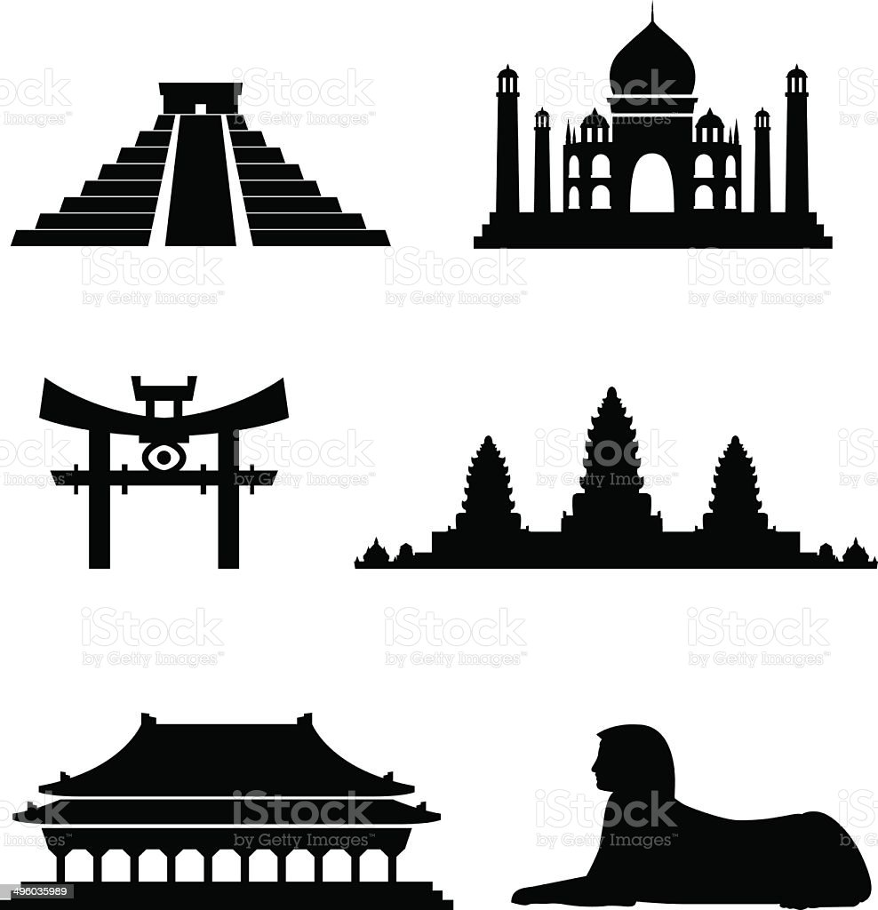 Blackstyle Exotic Landmarks vector art illustration