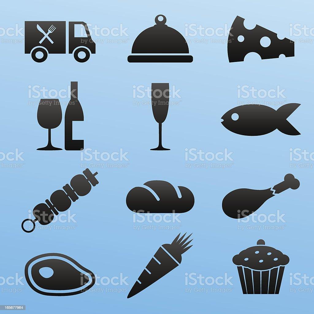 Blackstyle Icon Set Food vector art illustration