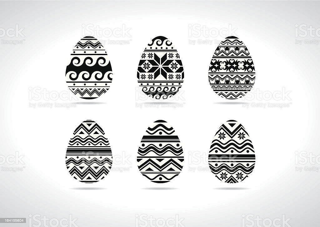 Black&White easter eggs Ukrainian traditional royalty-free stock vector art