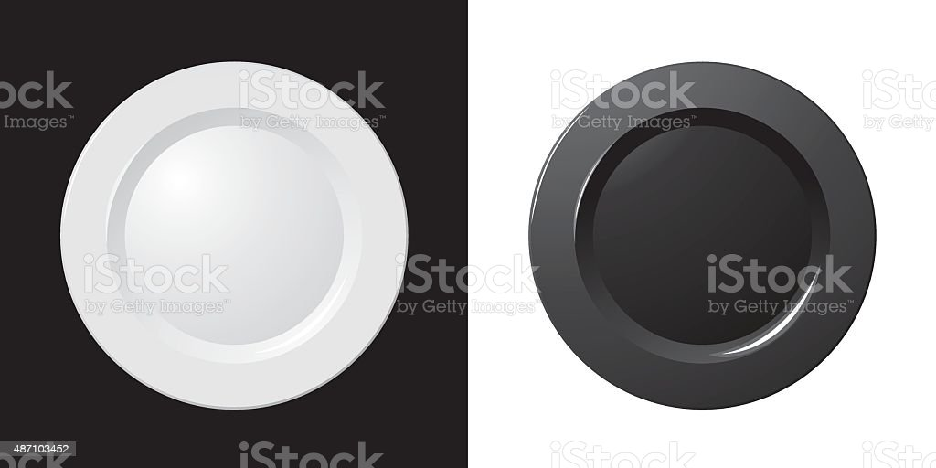 black&white plate vector art illustration