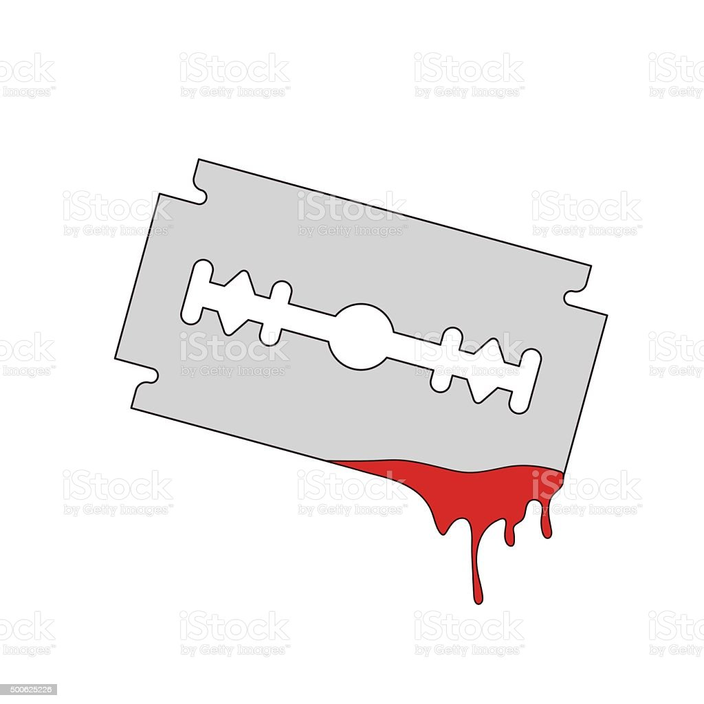 blade razor with flowing blood vector art illustration