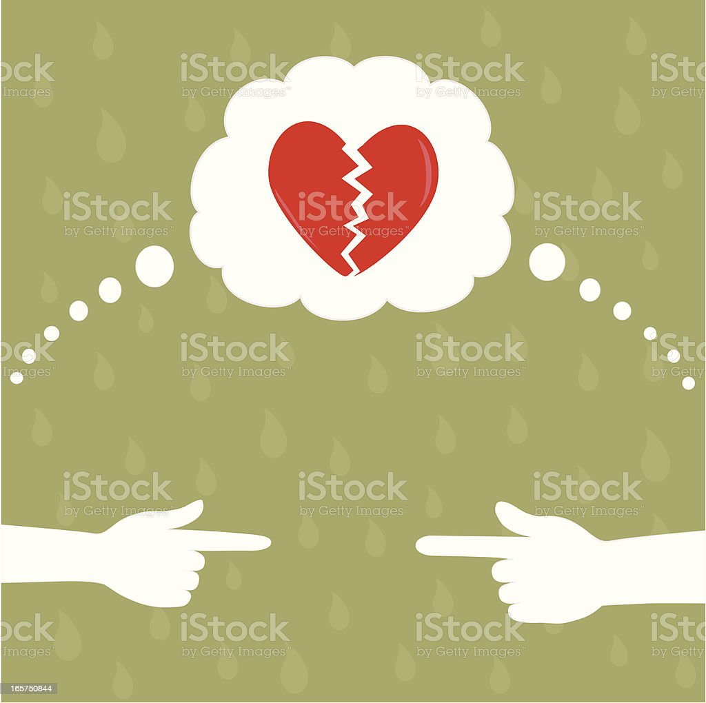 Blame for a broken heart royalty-free stock vector art