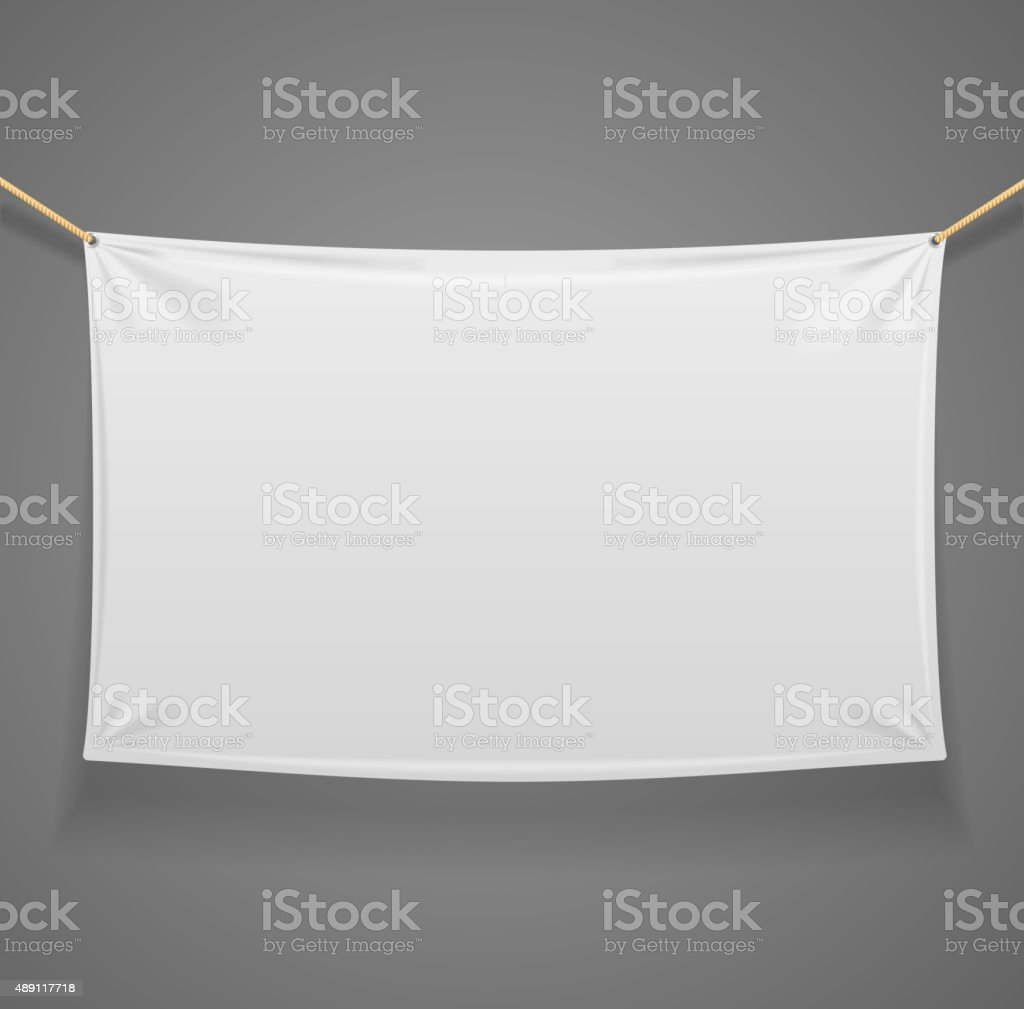 Blanc Fabric Rectangular Banner with Ropes. Vector vector art illustration
