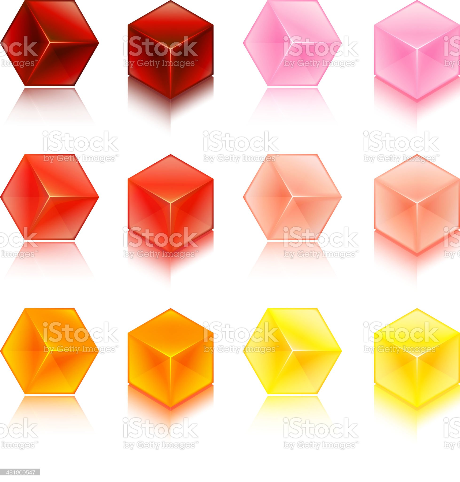 Blank 3D Cubes Full Color Set royalty-free stock vector art