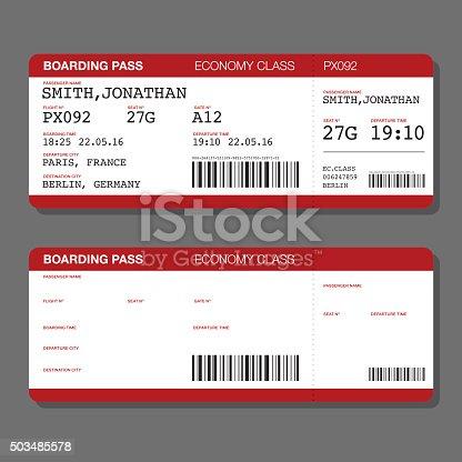 blank airport boarding pass template stock vector art 503485578 istock. Black Bedroom Furniture Sets. Home Design Ideas