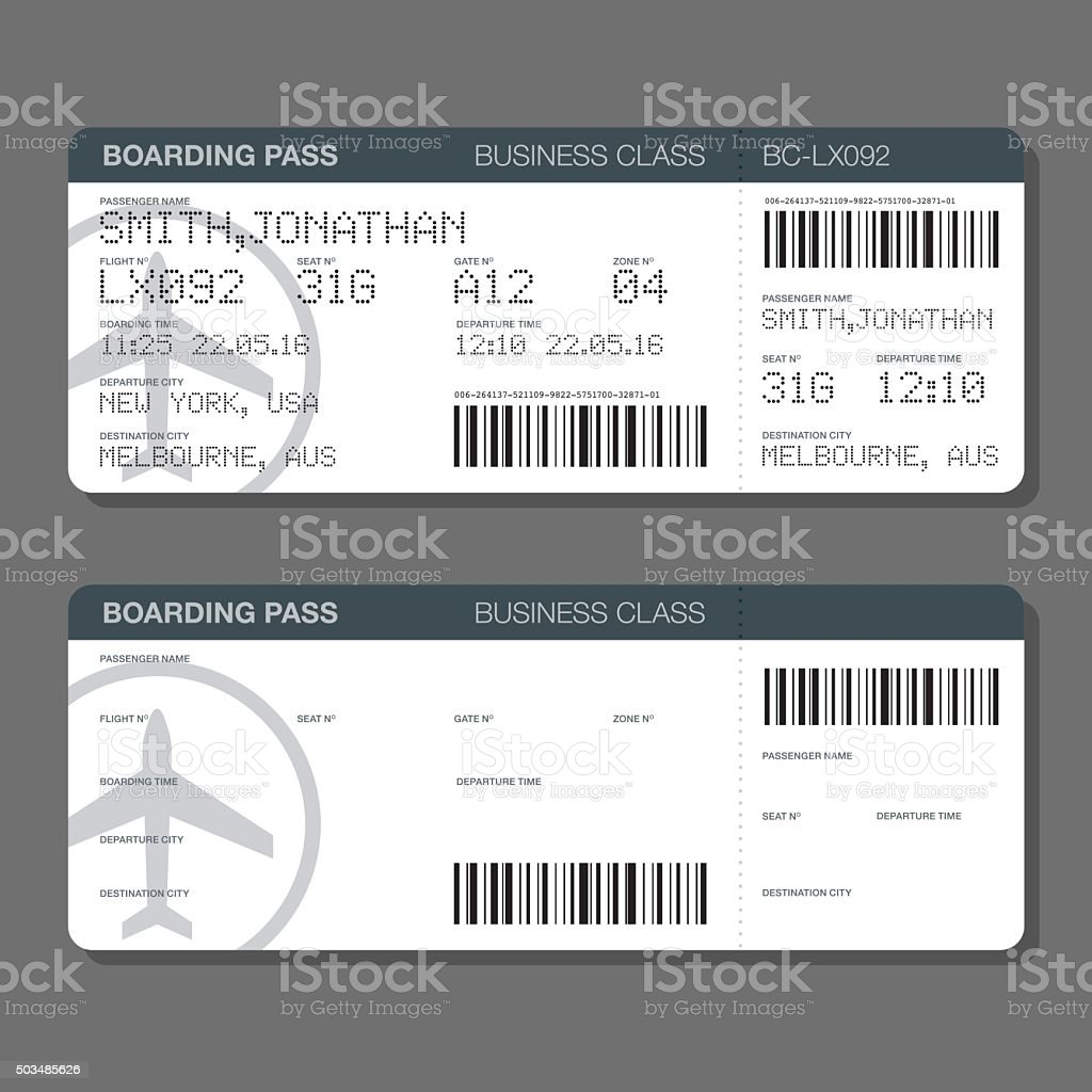 Custom Card Template boarding card template : Blank Airport Boarding Pass Template stock vector art 503485626 ...