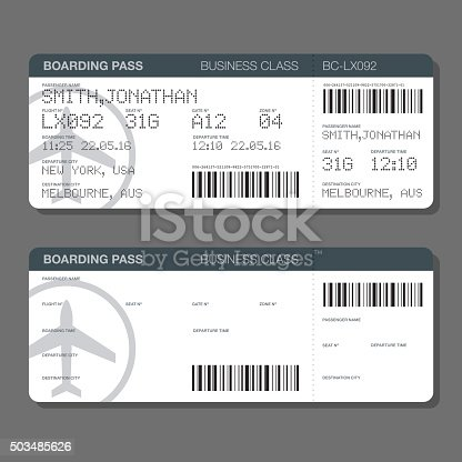 Blank Airport Boarding Pass Template Stock Vector Art 503485626