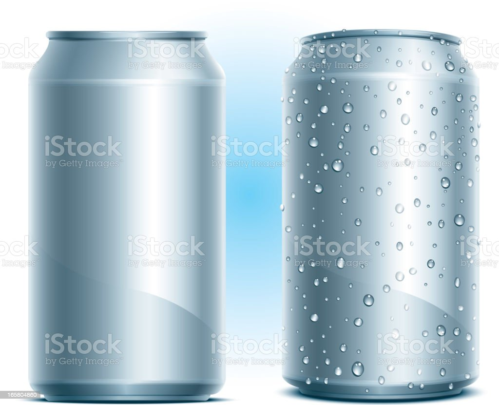Blank aluminum cans that are dry or covered with water drops royalty-free stock vector art