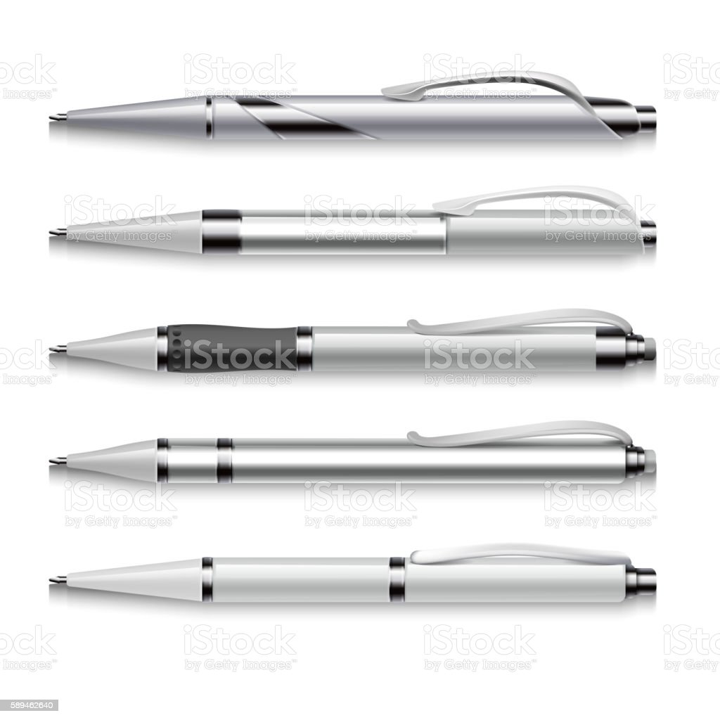 Blank and metallic vector pens template on white background vector art illustration