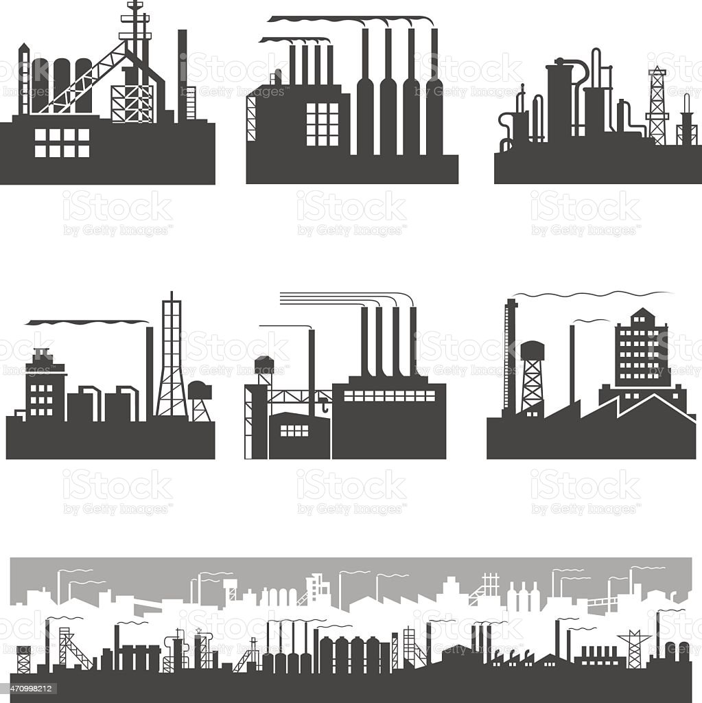 Blank and white graphic of factory silhouettes vector art illustration