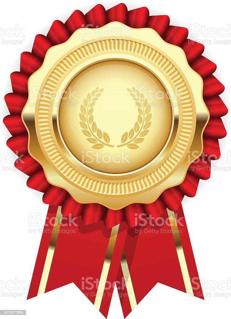 Blank award template - rosette with golden medal vector art illustration