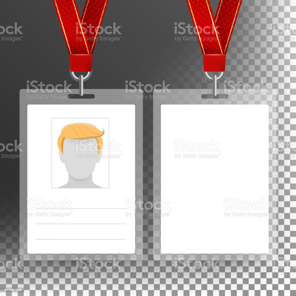Blank Badge With Ribbon, Lanyard Vector. Identification Card Template. Transparent vector art illustration