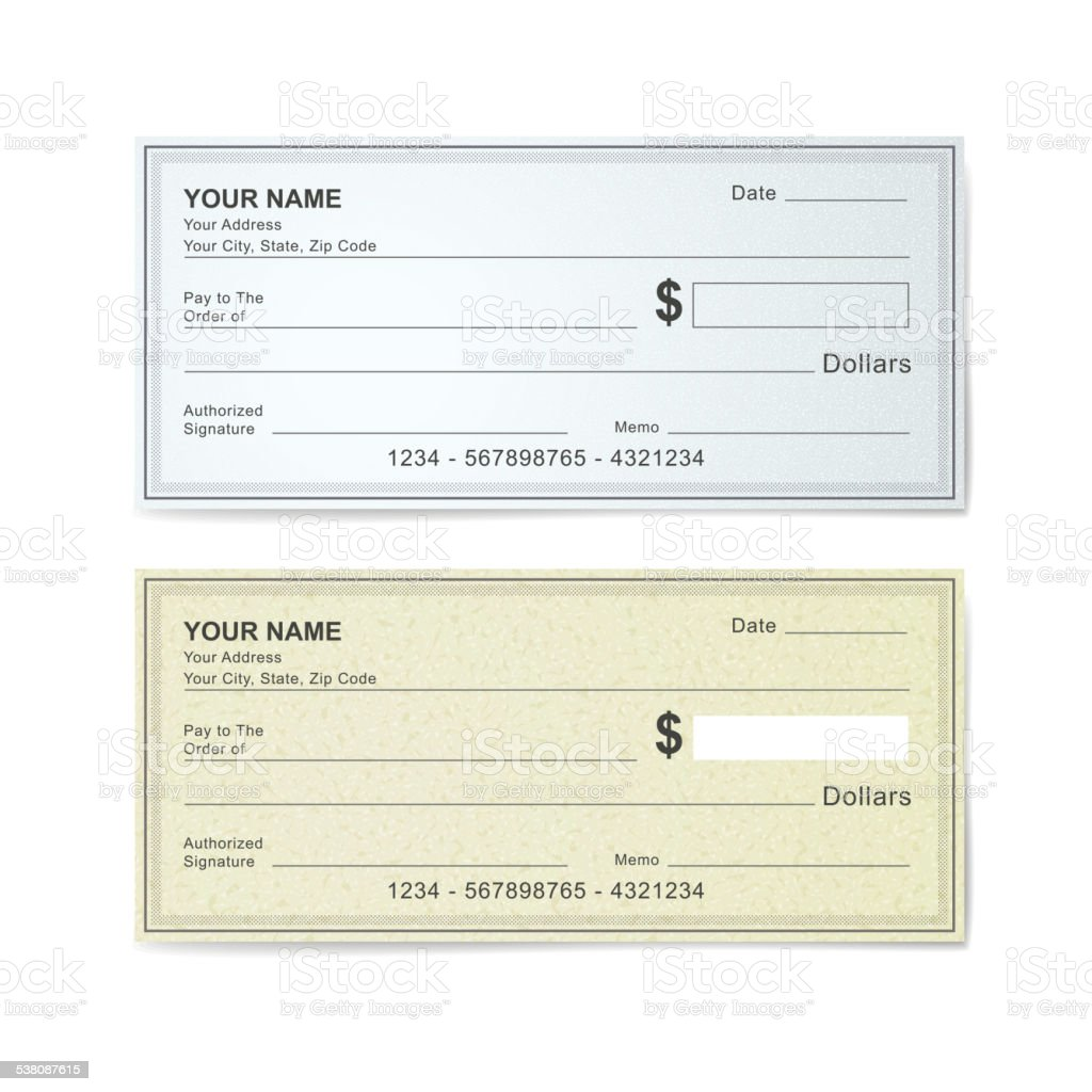 blank bank check template vector art illustration