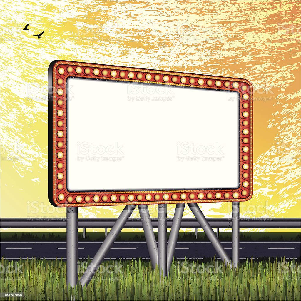 blank billboard and lonely road-daytime royalty-free stock vector art