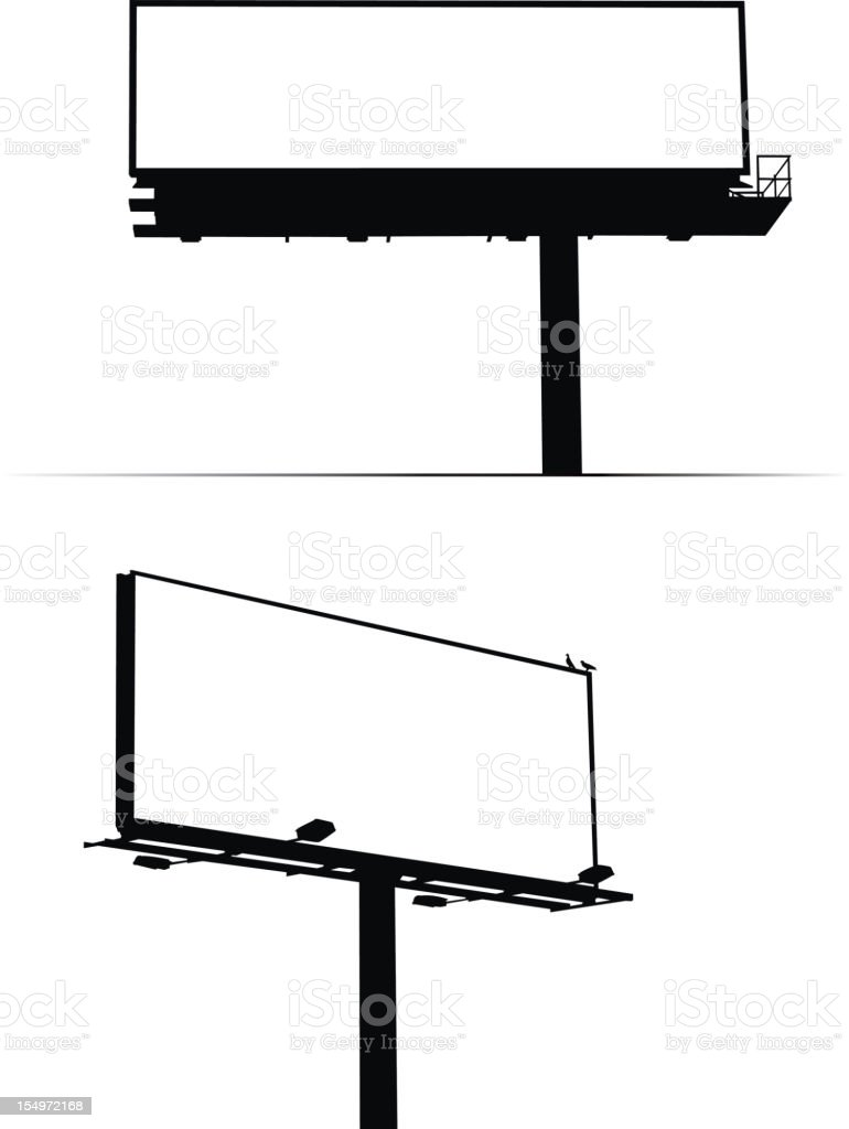 Blank billboard signs against white background vector art illustration