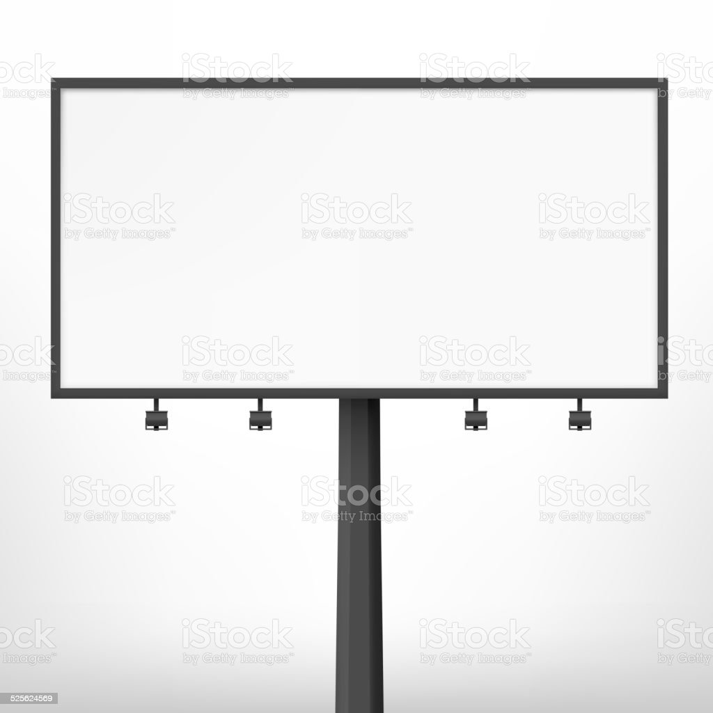 Blank black billboard, vector illustration. vector art illustration